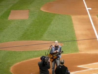 James Taylor preparing to sing the National Anthem