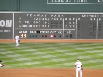A view of the scoreboard when we were winning