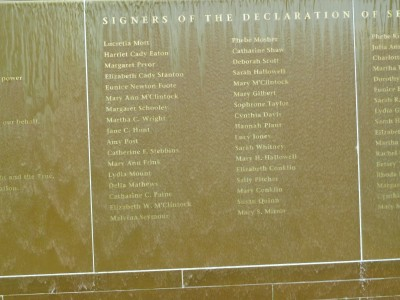 A picture of the names of a portion of those who signed the Declaration of Sentiments in 1848.