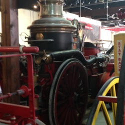 This is the type of steam powered fire pump that would have been used in the 1880's, the time of Love's First Flames.