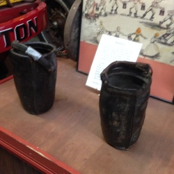 Buckets used in Colonial Boston to fight fires.